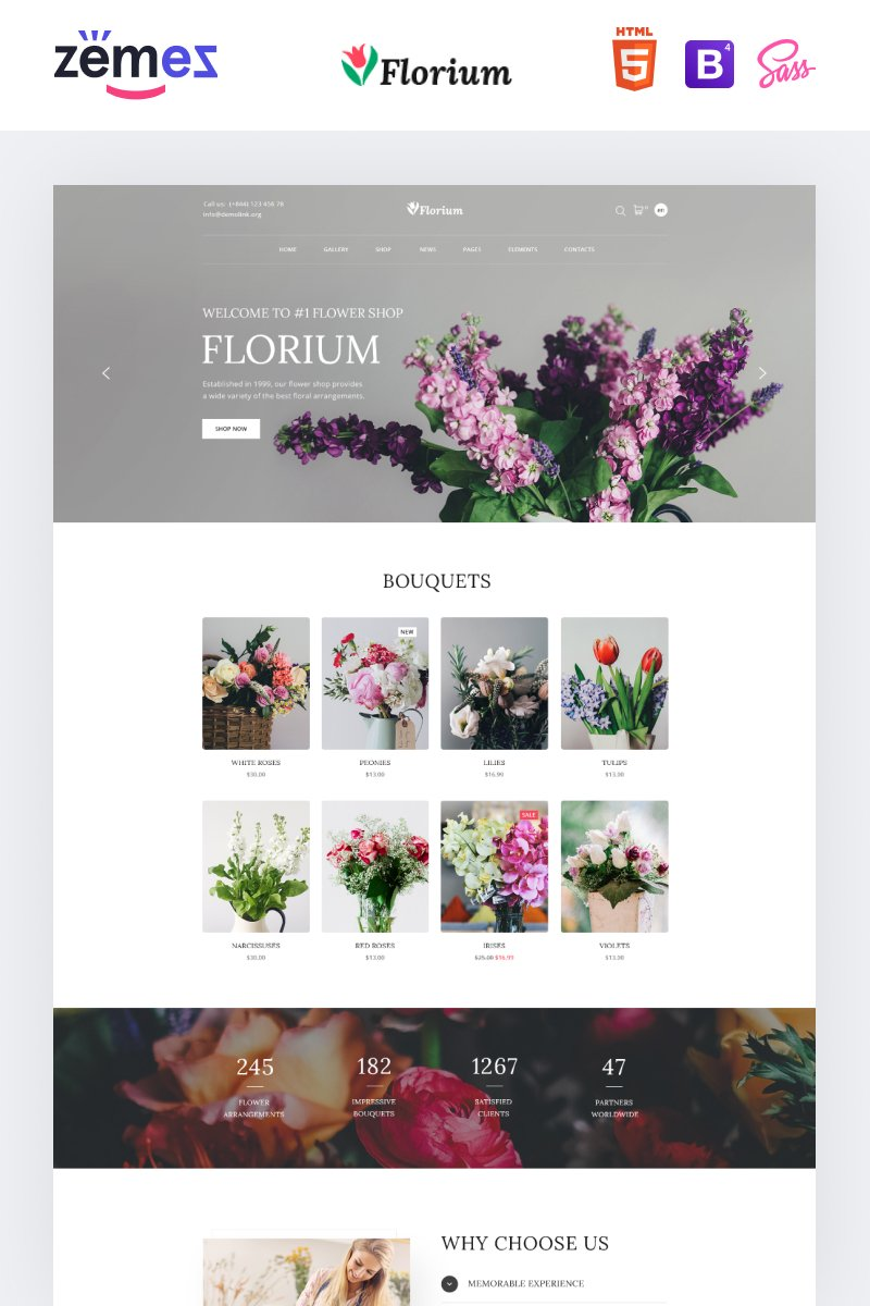Responsive Florium - Flower Store Modern Multipage HTML Web Sitesi #86751
