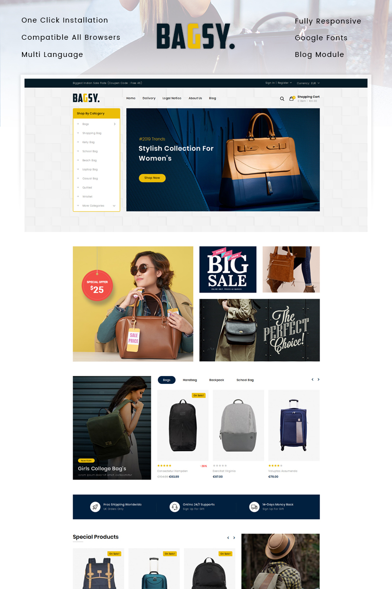 """Bagsy - Travel Bag Store"" thème PrestaShop adaptatif #86853"