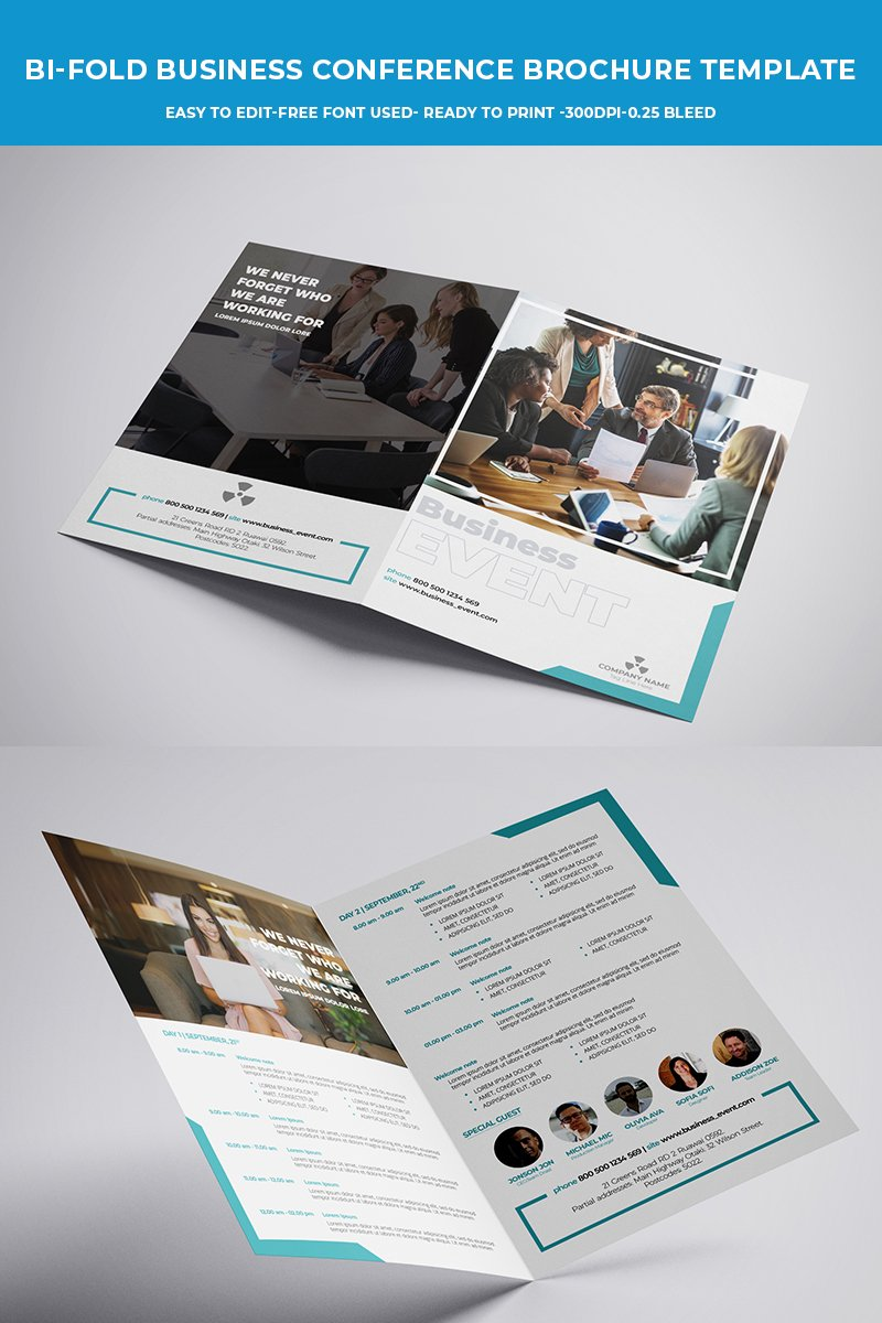 Bi-fold Business Conference Brochure Corporate Identity Template