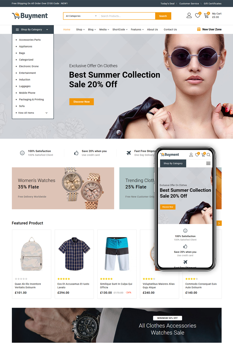 """Buyment - Multipurpose Shop"" Responsive WooCommerce Thema №86894"