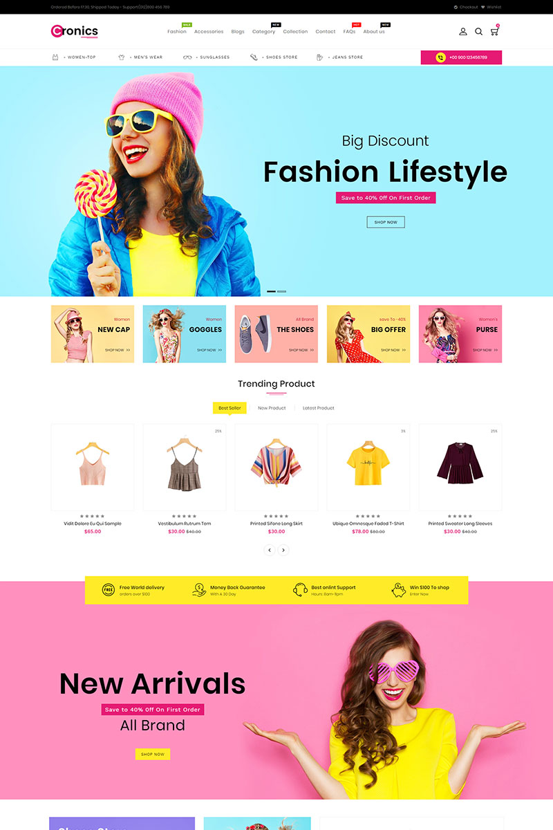 """Cronics Fashion Responsive"" - адаптивний Shopify шаблон №86809"