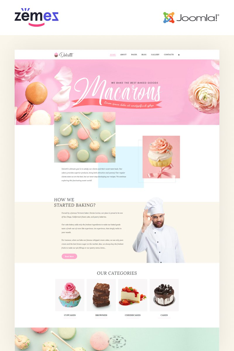 """Dolcetti - Bakery Multipage Modern"" thème Joomla adaptatif #86895"