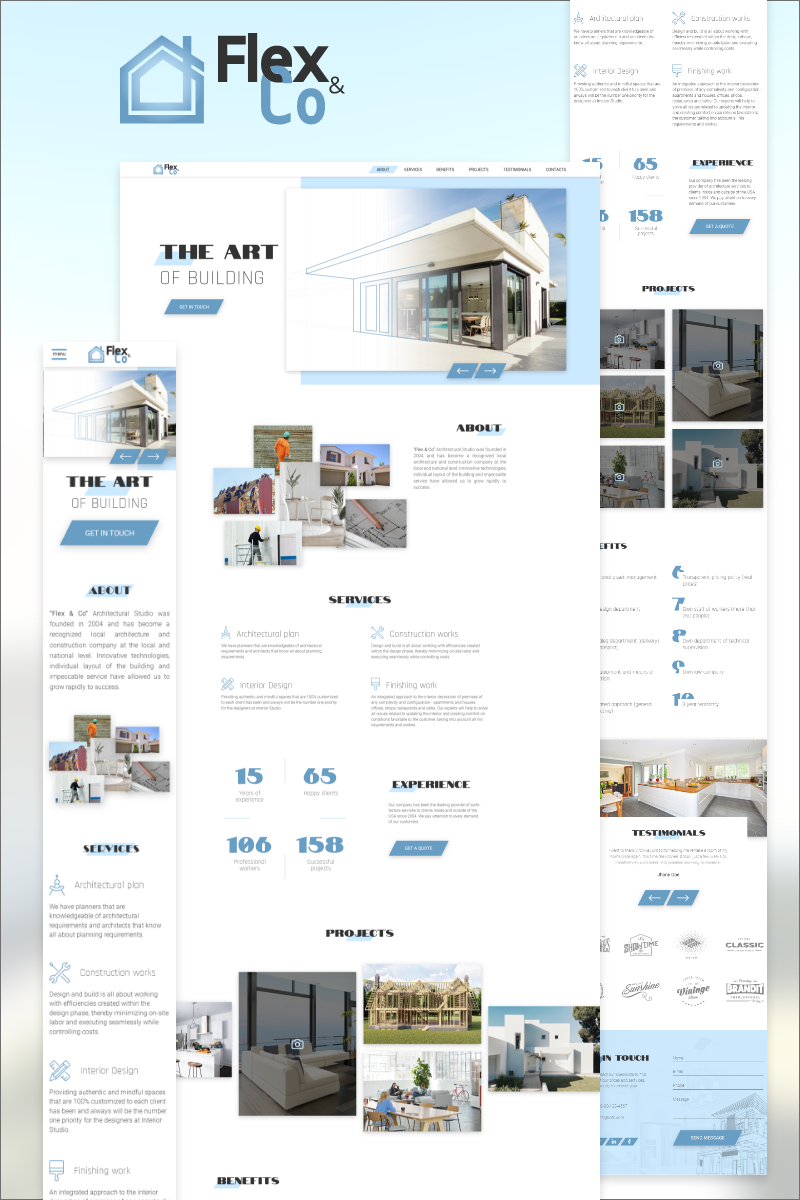 """""""Flex & Co - Architectural and Construction Agency"""" - PSD шаблон №86877"""