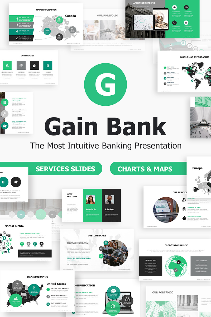 Gain Bank Intuitive Banking PowerPoint Template