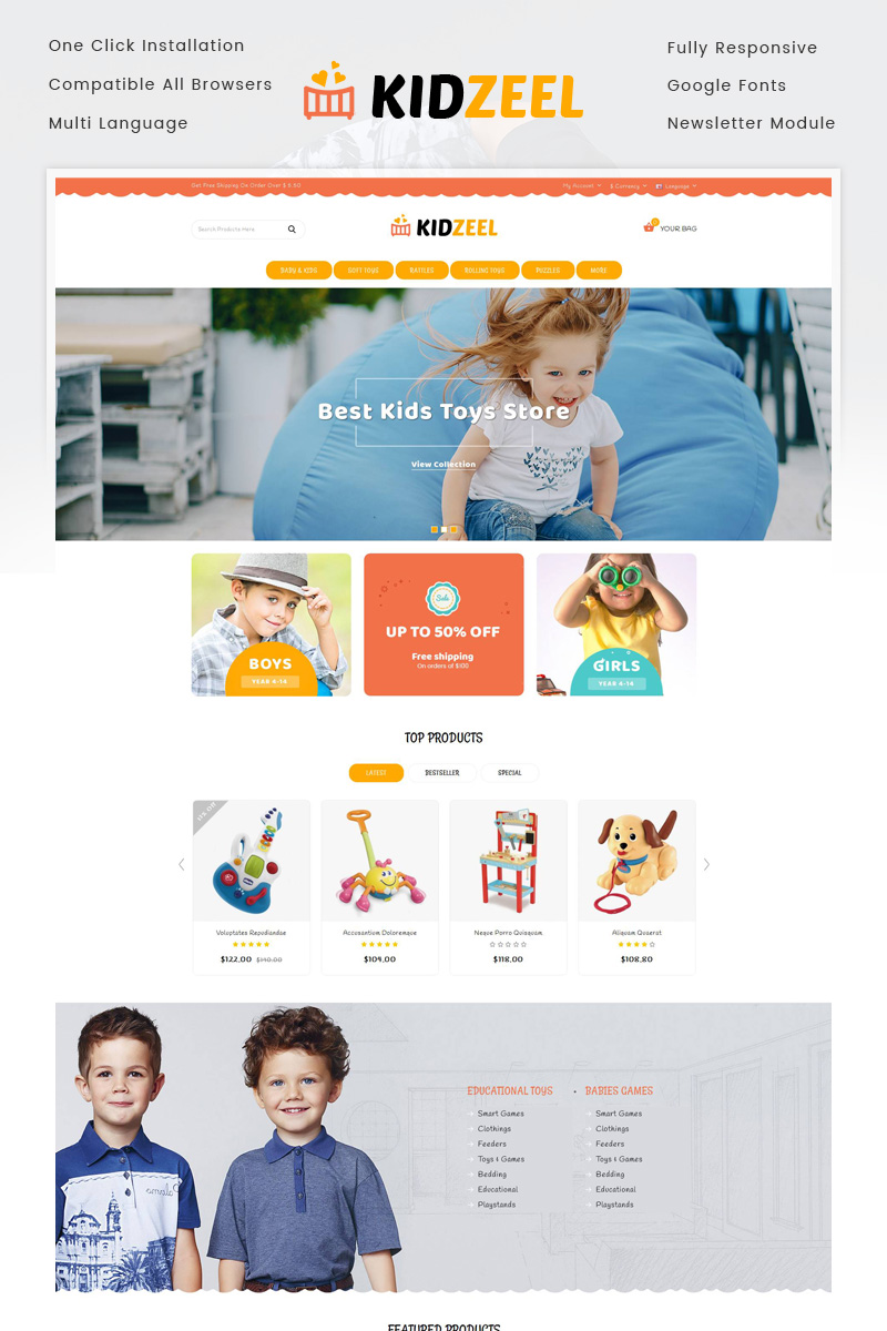 """KidZeel - Toys Store"" - адаптивний OpenCart шаблон №86896"