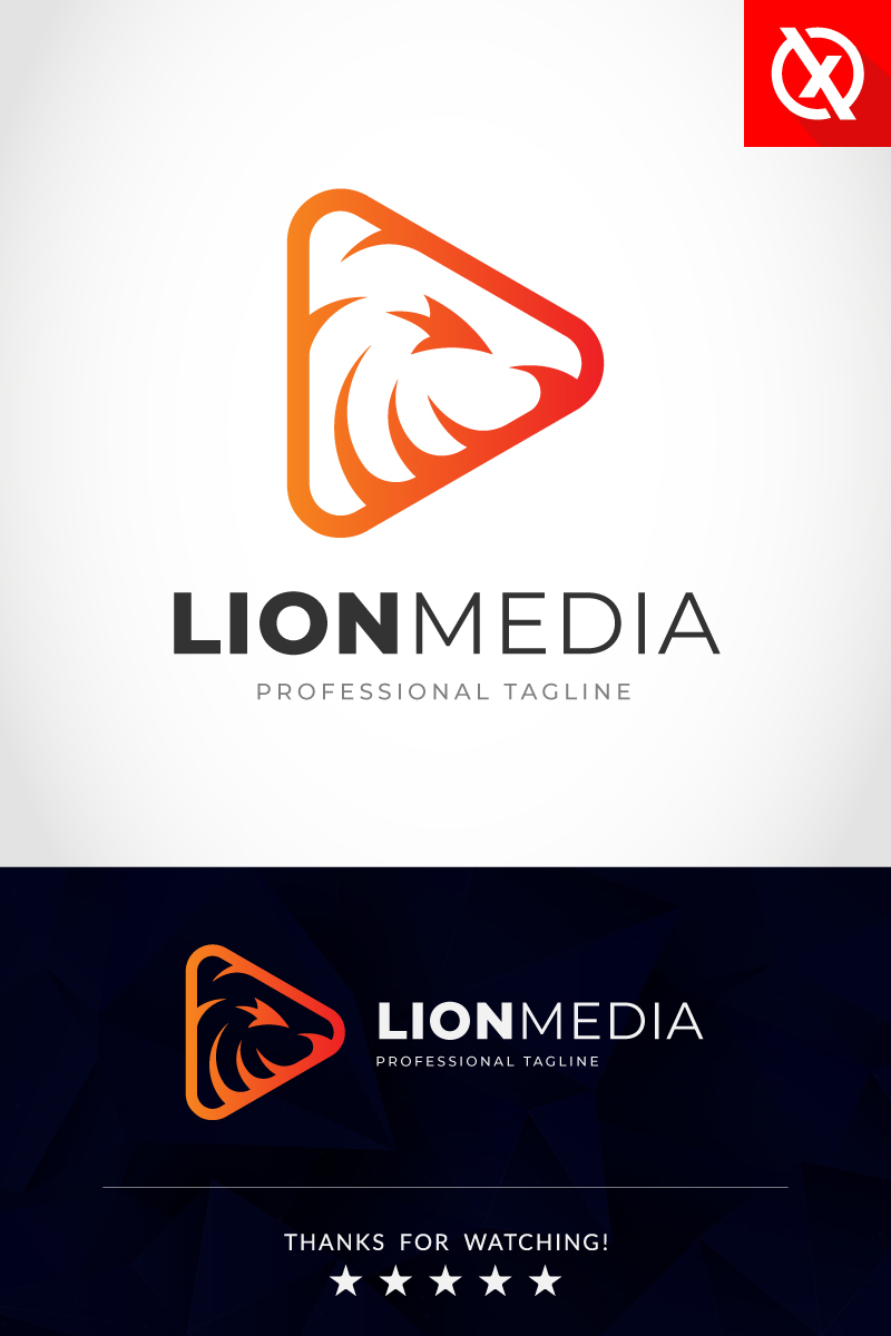 Lion Media Studio Logo Template