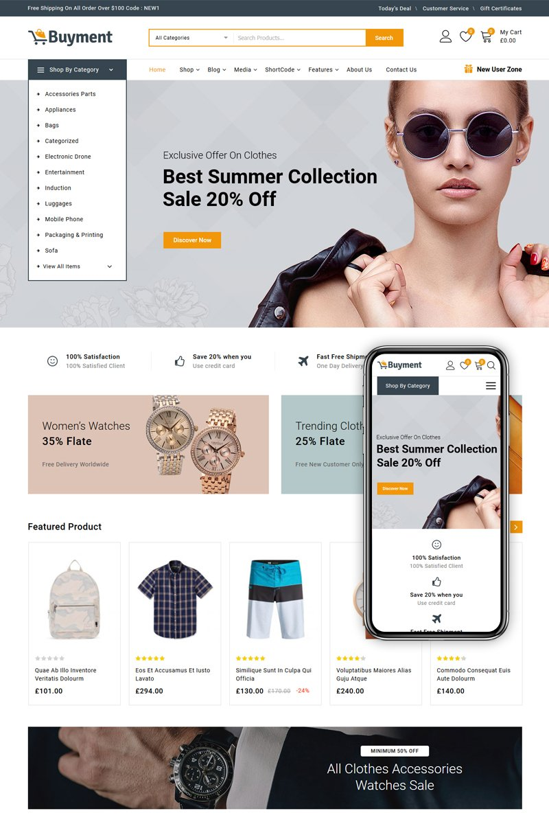 "Modello WooCommerce Responsive #86894 ""Buyment - Multipurpose Shop"""