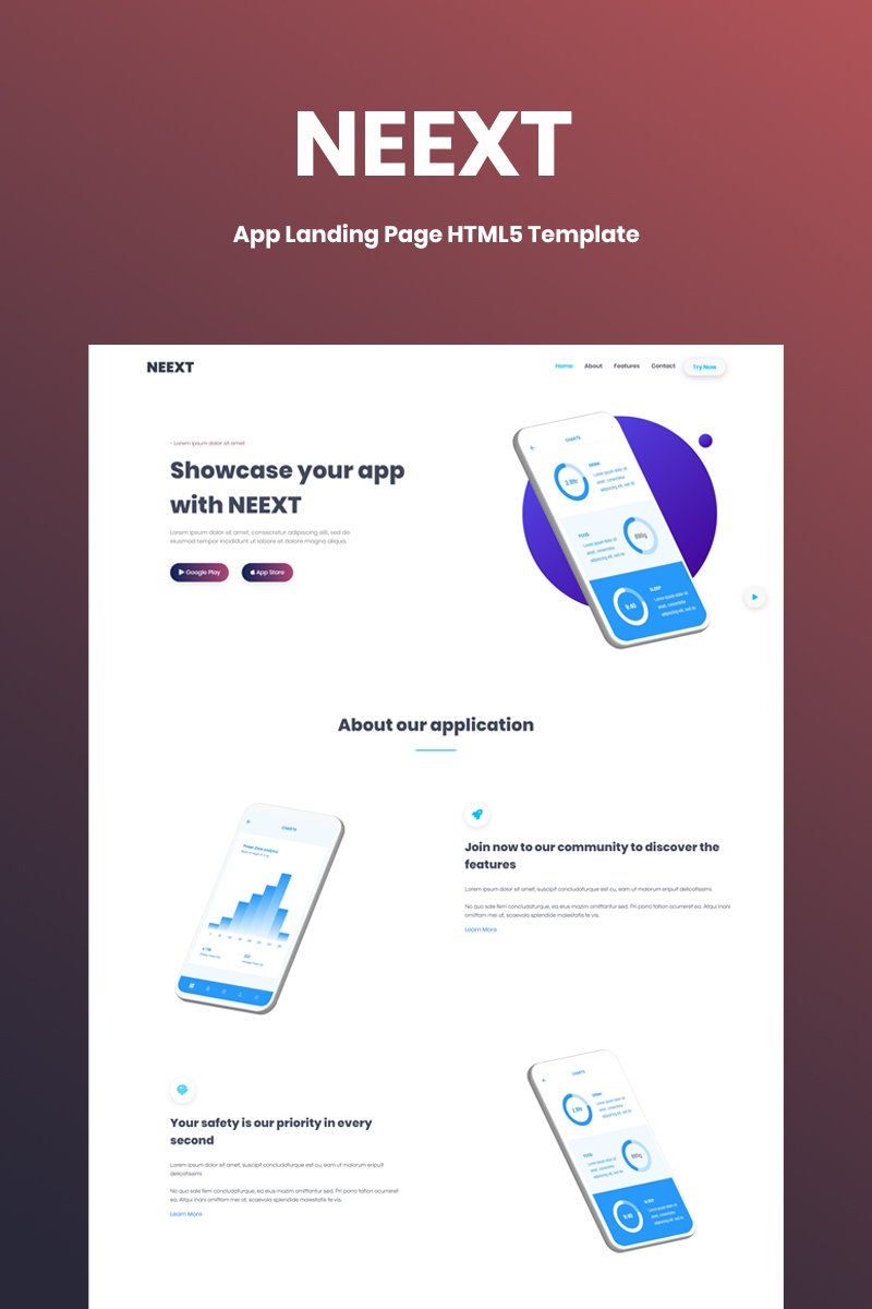Neext - App  HTML5 Landing Page Template