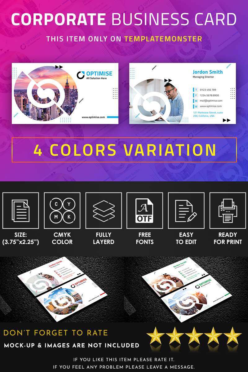 Optimise Agency Business Card Corporate Identity Template