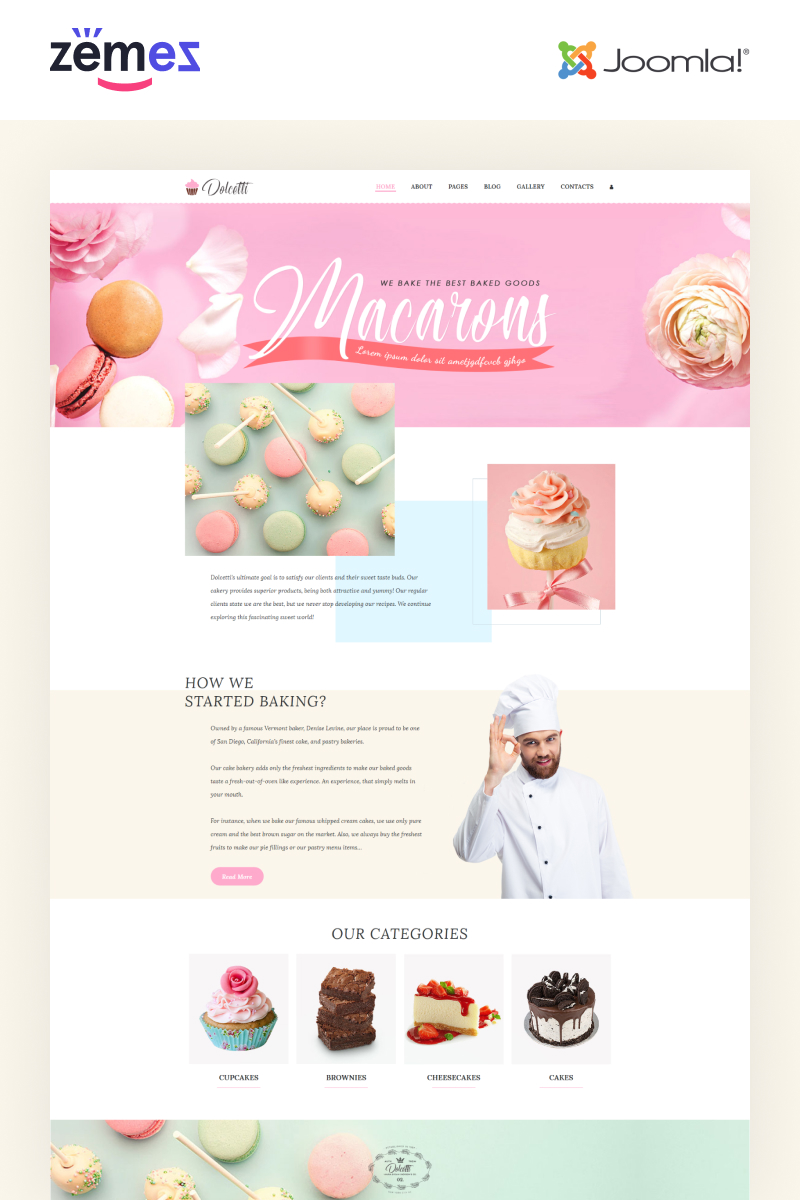 Responsivt Dolcetti - Bakery Multipage Modern Joomla-mall #86895