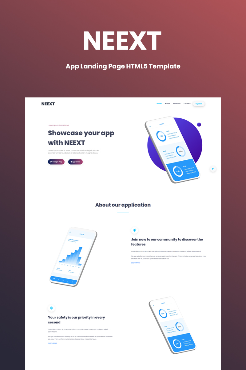 Responsywny szablon Landing Page Neext - App  HTML5 #86854