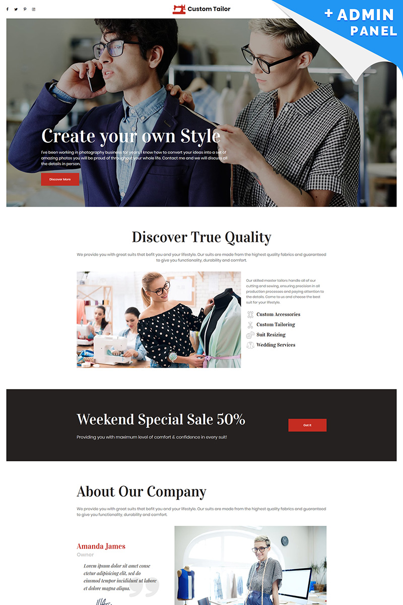 Reszponzív Custom Tailor Nyítóoldal sablon 86897 - képernyőkép