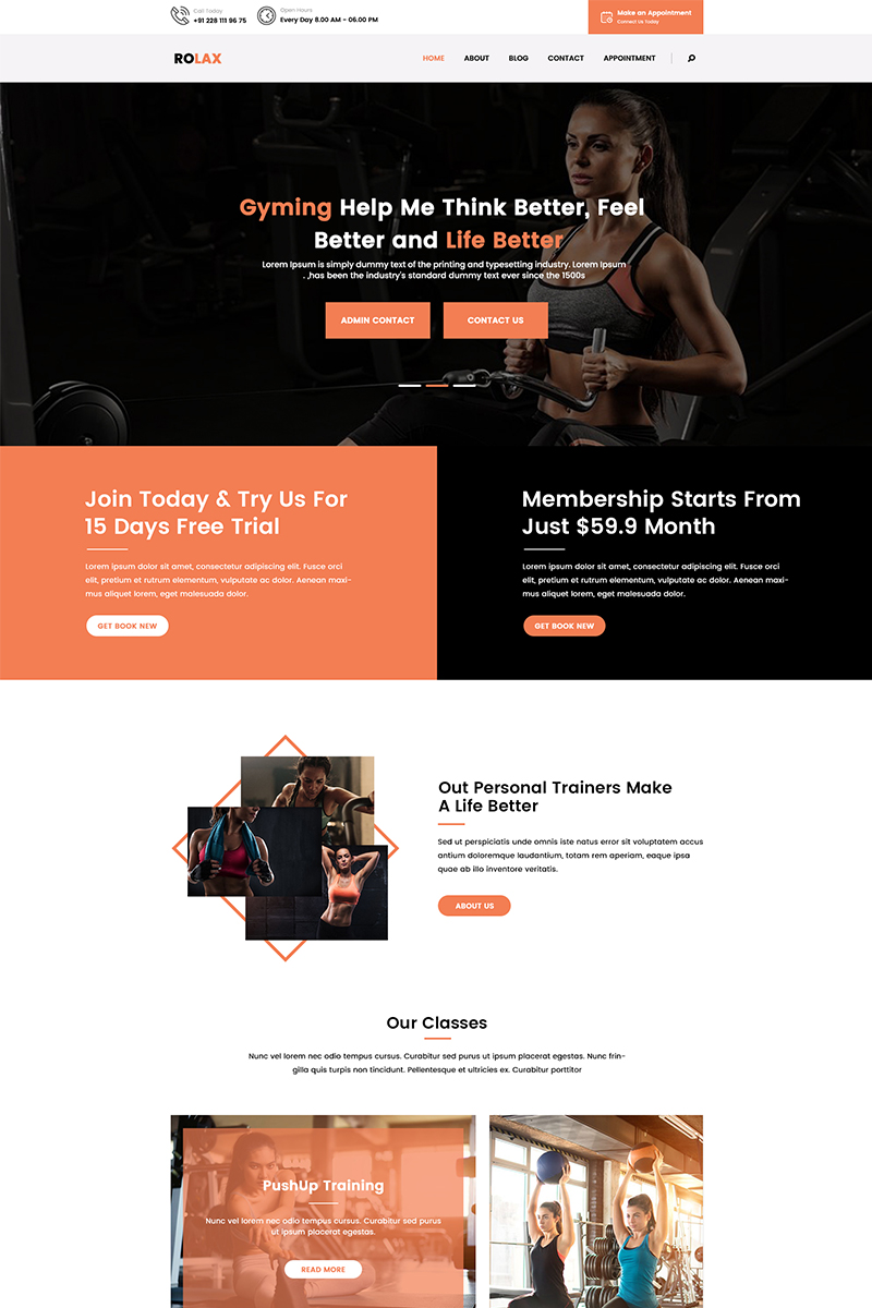 """""""Rolax - Gym and Fitness"""" Responsive PSD Template №86864"""