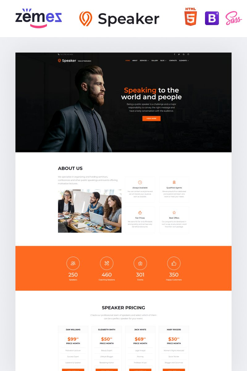 """Speaker - Event Planner Multipage Creative HTML"" 响应式网页模板 #86898"