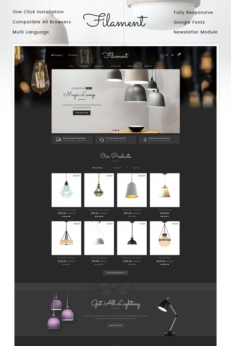 "Tema OpenCart Responsive #86808 ""Filament Lighting Store"""