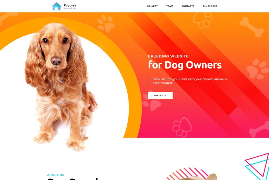 one page dog breeder website design template motocms. Black Bedroom Furniture Sets. Home Design Ideas