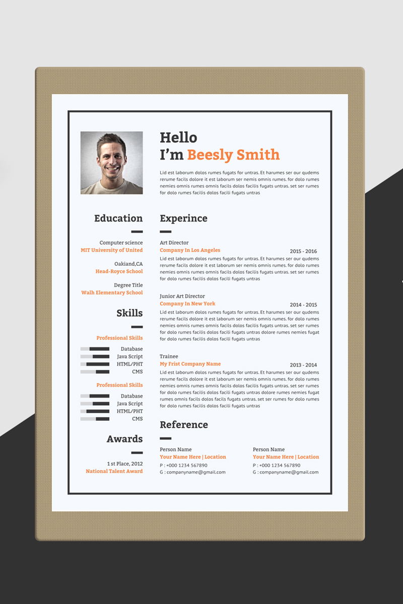 Beesly Smith Word Resume Template - screenshot