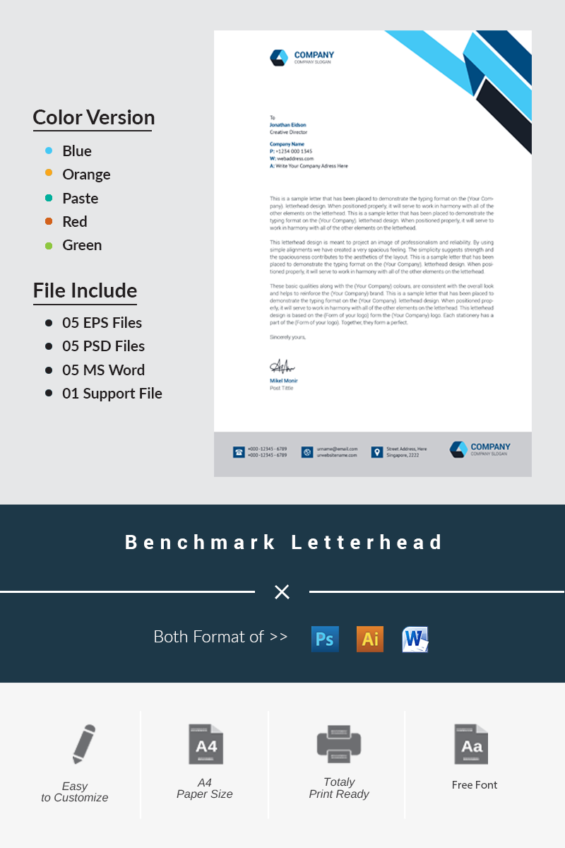 Benchmark Letterhead Corporate Identity Template