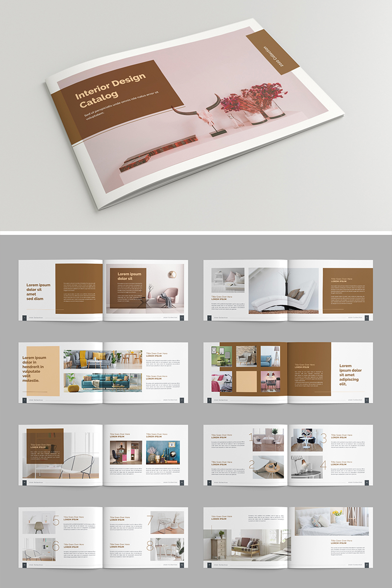 Catalog Layout with Brown Accents, 24 Pages Corporate Identity Template