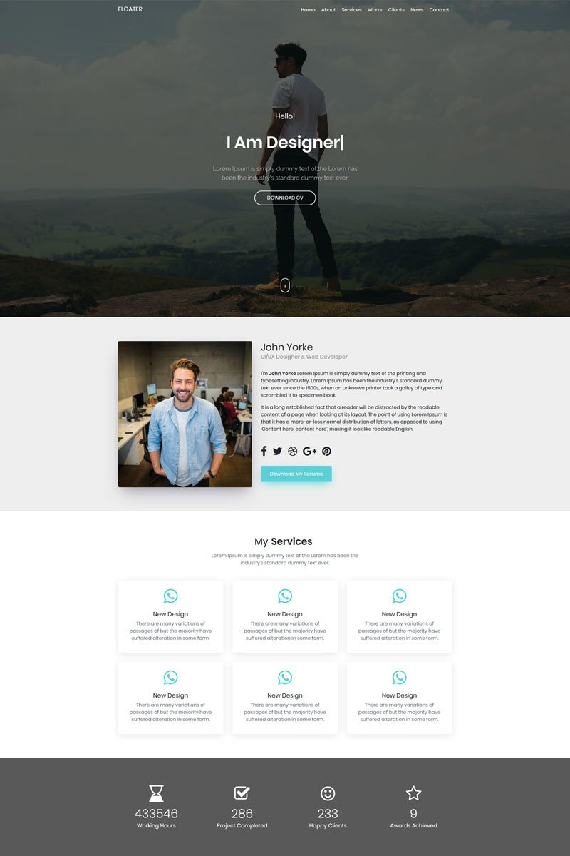 Floater Landing Page Template - screenshot