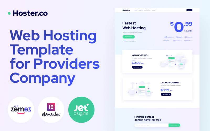 """""""Hoster.co - Web Hosting Template for Providers Company with Elementor"""" 响应式WordPress模板 #86942"""