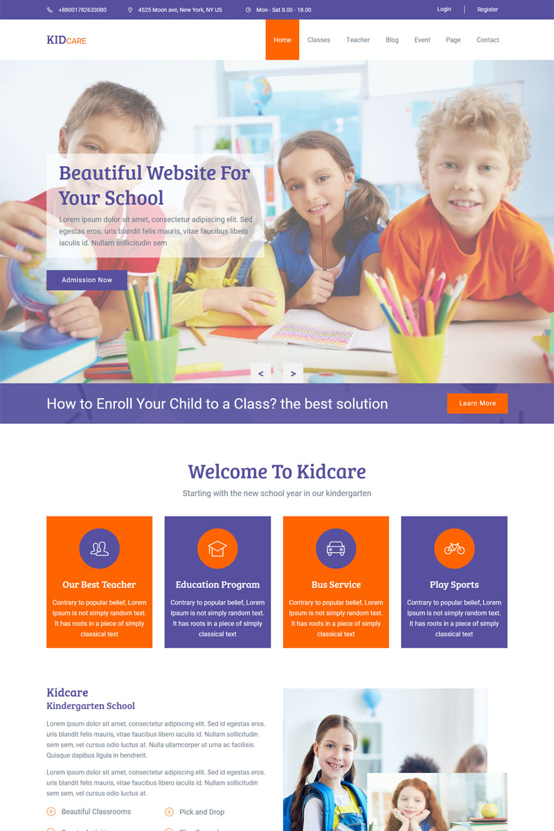 Kidcare - Kindergarten & School Muse Template