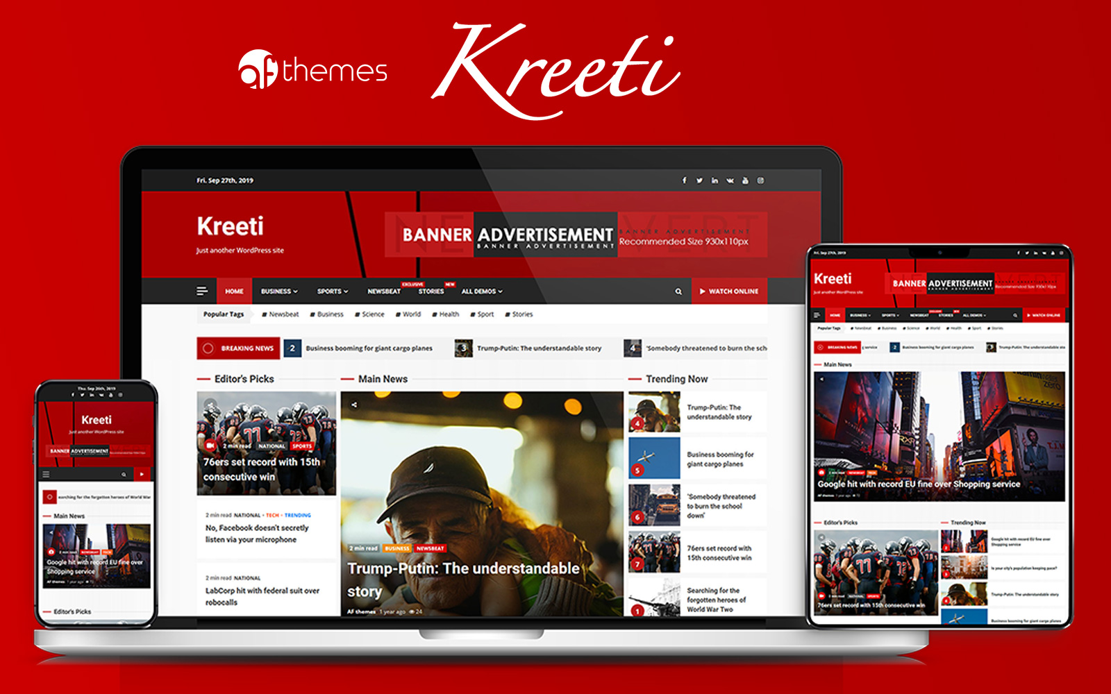 """Kreeti - Clean and Elegant Responsive"" Responsive WordPress thema №86910"