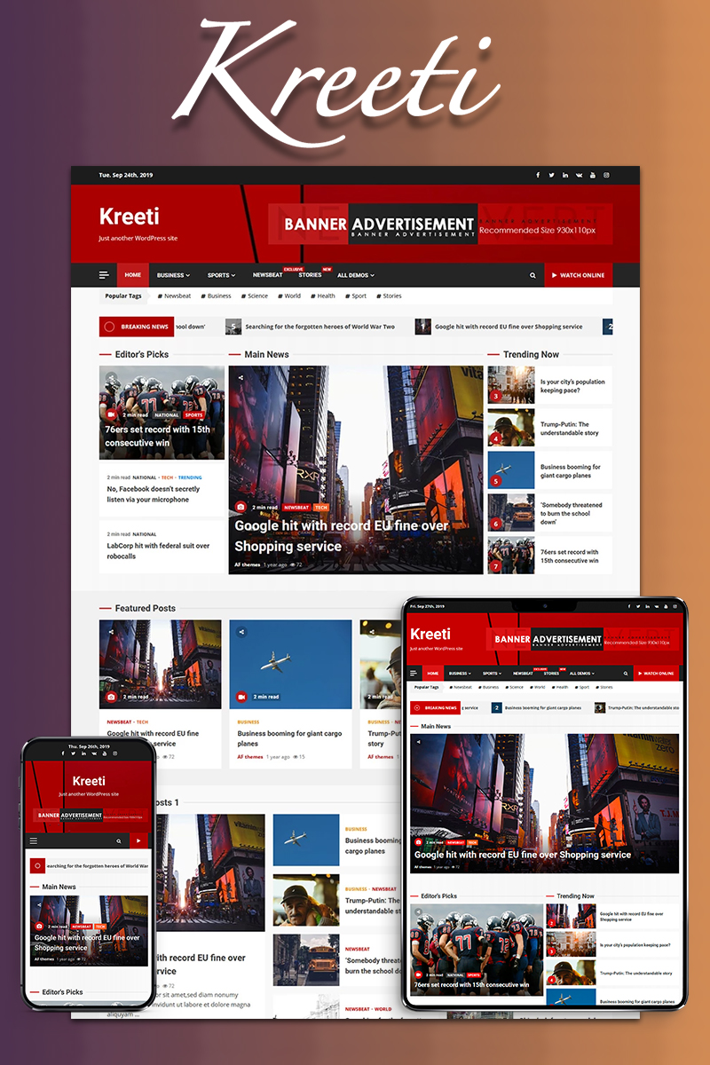 """Kreeti - Clean and Elegant Responsive"" 响应式WordPress模板 #86910"