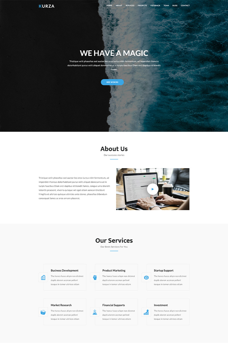 Kurza - Agency, Corporate, Portfolio HTML5 Templates de Landing Page №86911