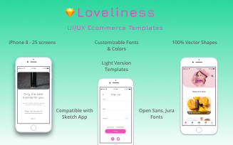 Loveliness - UI/UX Light Version E-commerce Set for iPhone 8 Sketch Template