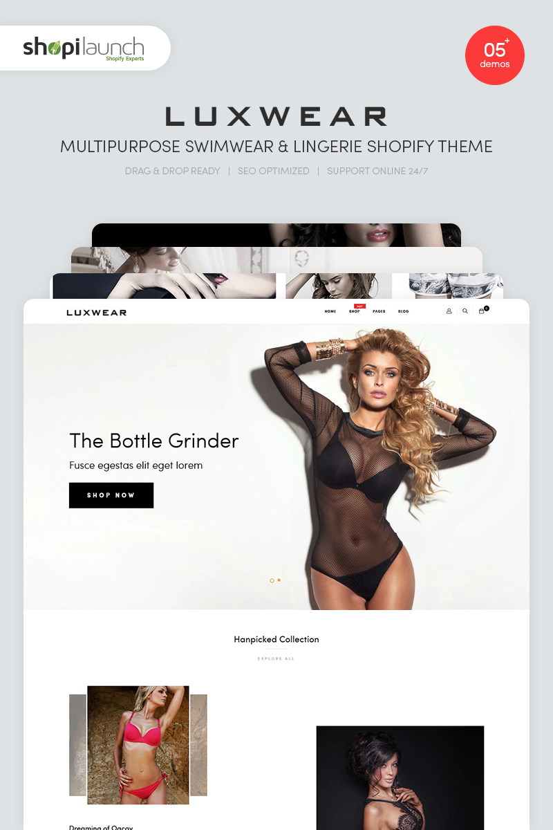 """LUXWEAR - Multipurpose Swimwear & Lingerie"" Responsive Shopify Thema №86981"