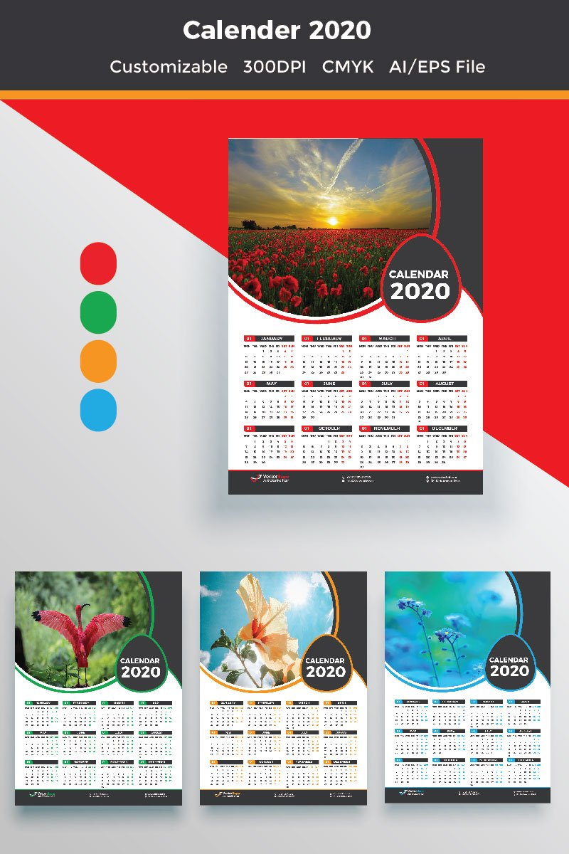 1 Page Wall Calendar 2020 Planner
