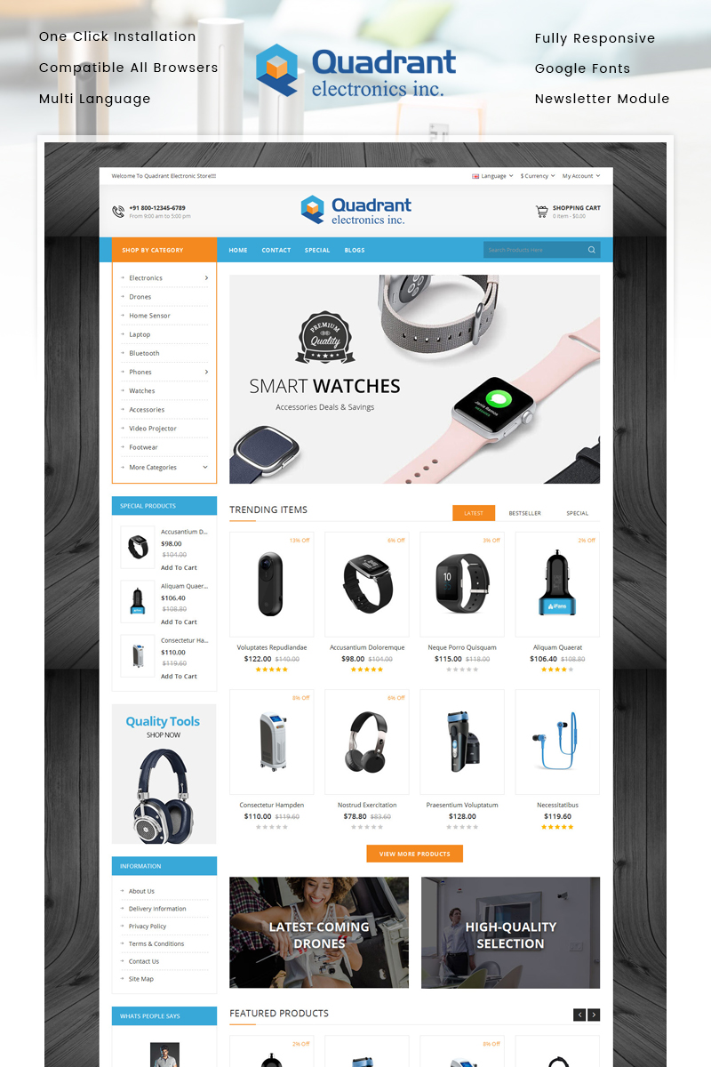"""Plantilla OpenCart """"Quadrant - Electronics Store"""" #86944"""