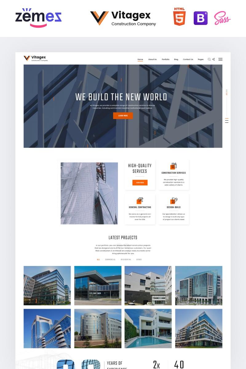 "Plantilla Web ""Vitagex - Construction Company Multipage Modern HTML"" #86973"
