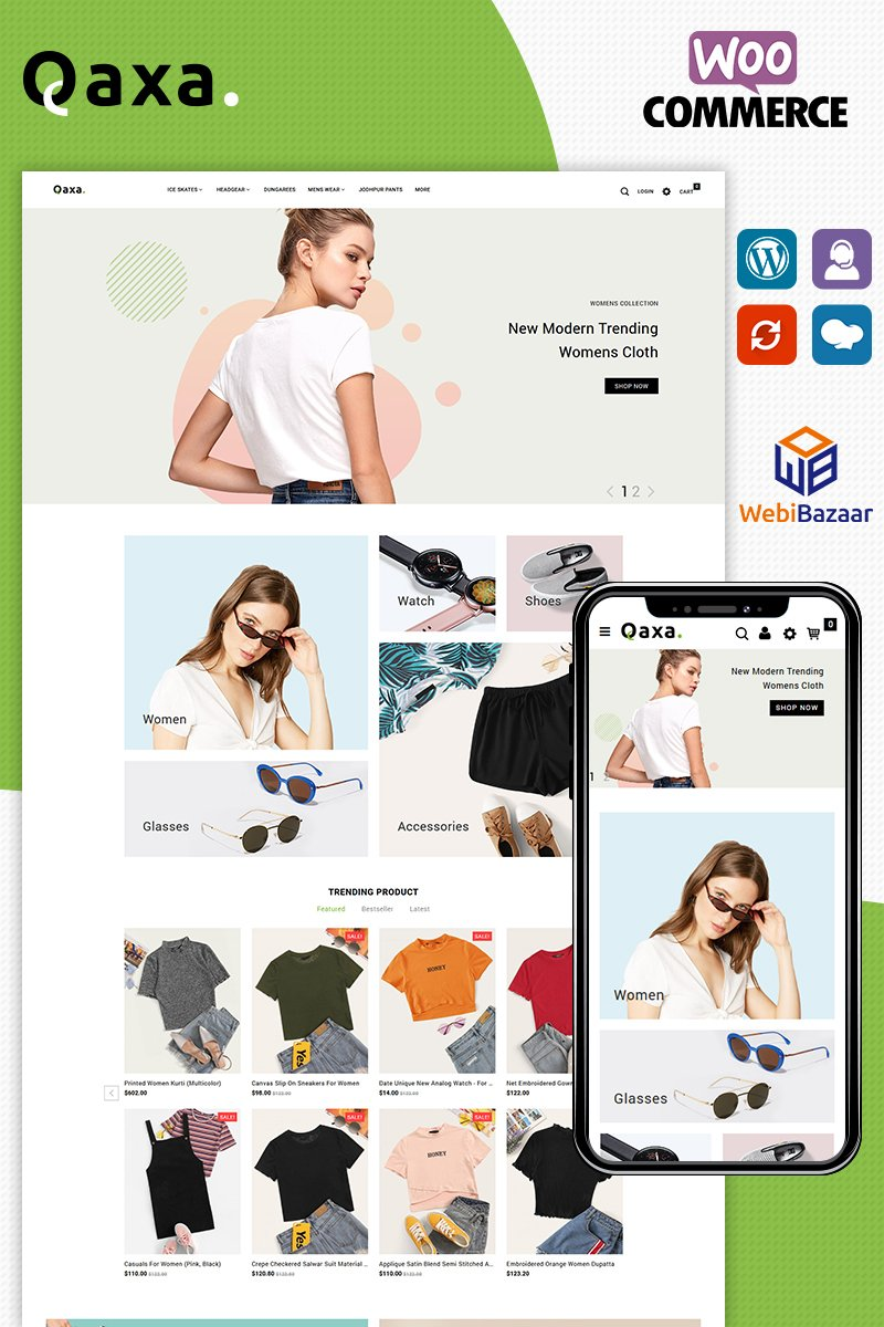 Qaxa Responsive WooCommerce Theme - screenshot