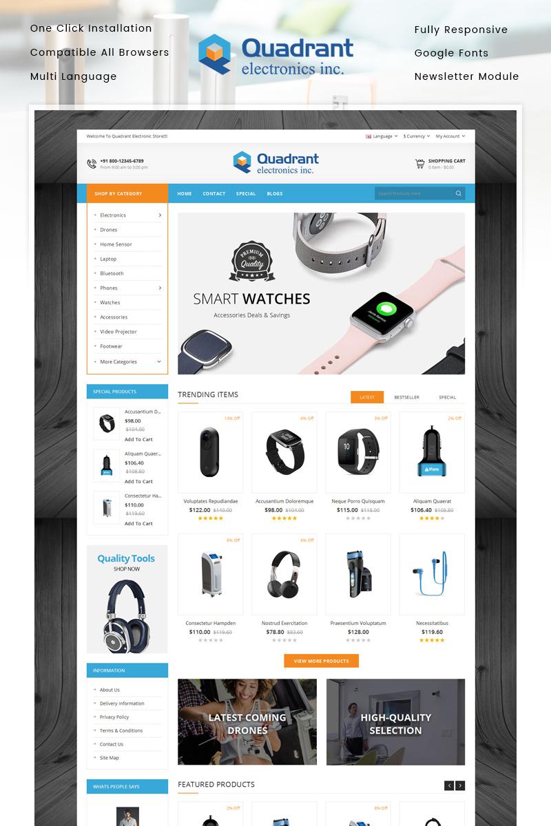 """Quadrant - Electronics Store"" - адаптивний OpenCart шаблон №86944"