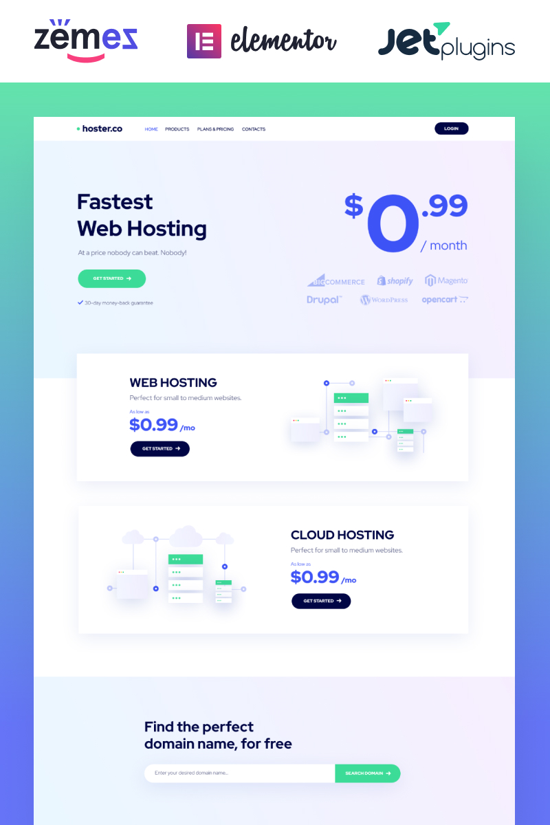 Responsivt Hoster.co - Web Hosting Template for Providers Company with Elementor WordPress-tema #86942