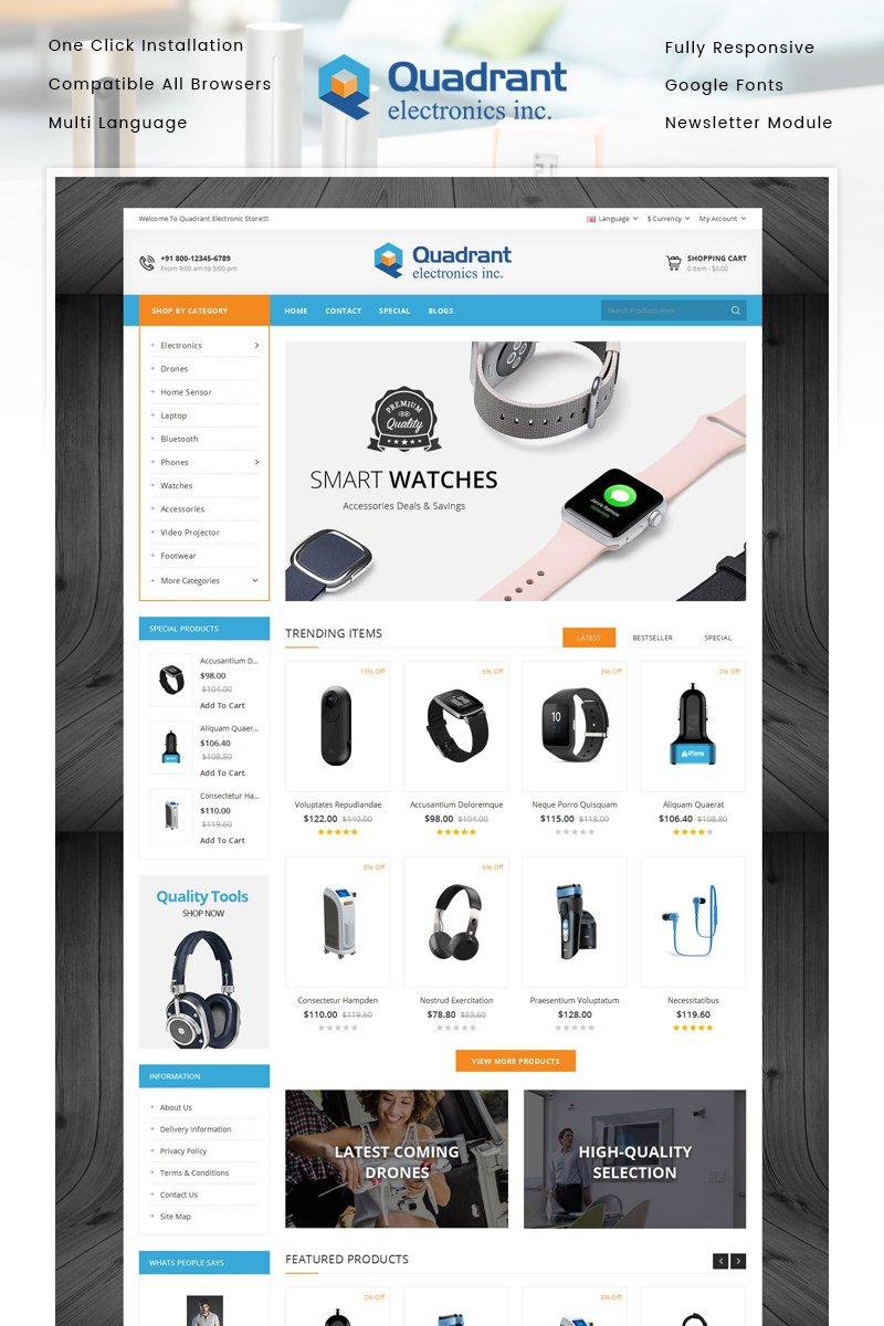 Reszponzív Quadrant - Electronics Store OpenCart sablon 86944 - képernyőkép