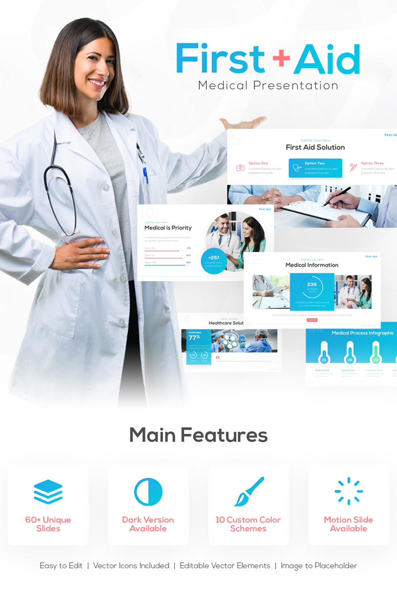 Szablon PowerPoint First Aid Medical Presentation #86955
