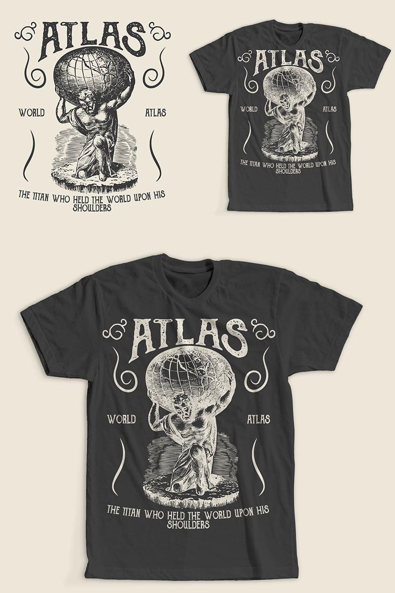 """T-shirt namens """"Atlas Retro Vintage Design"""" #86975"""
