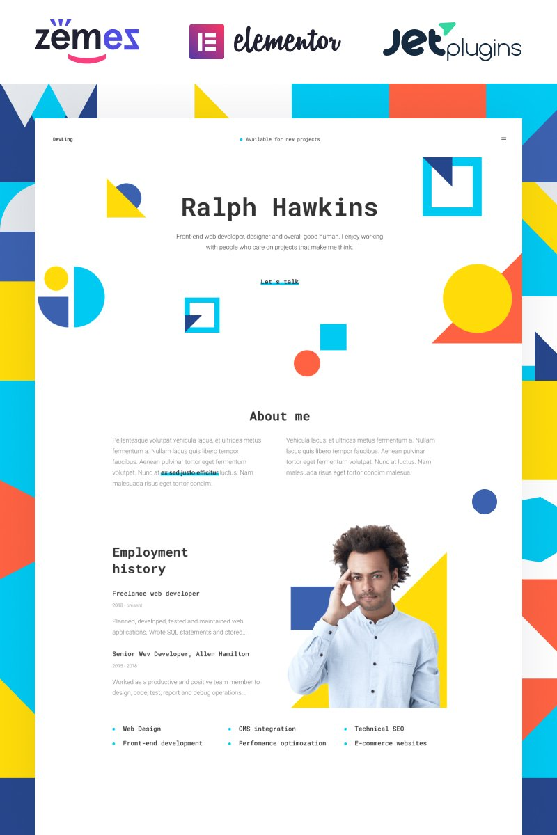 "Tema De WordPress ""Devling - Portfolio Website for Developer"" #86943"