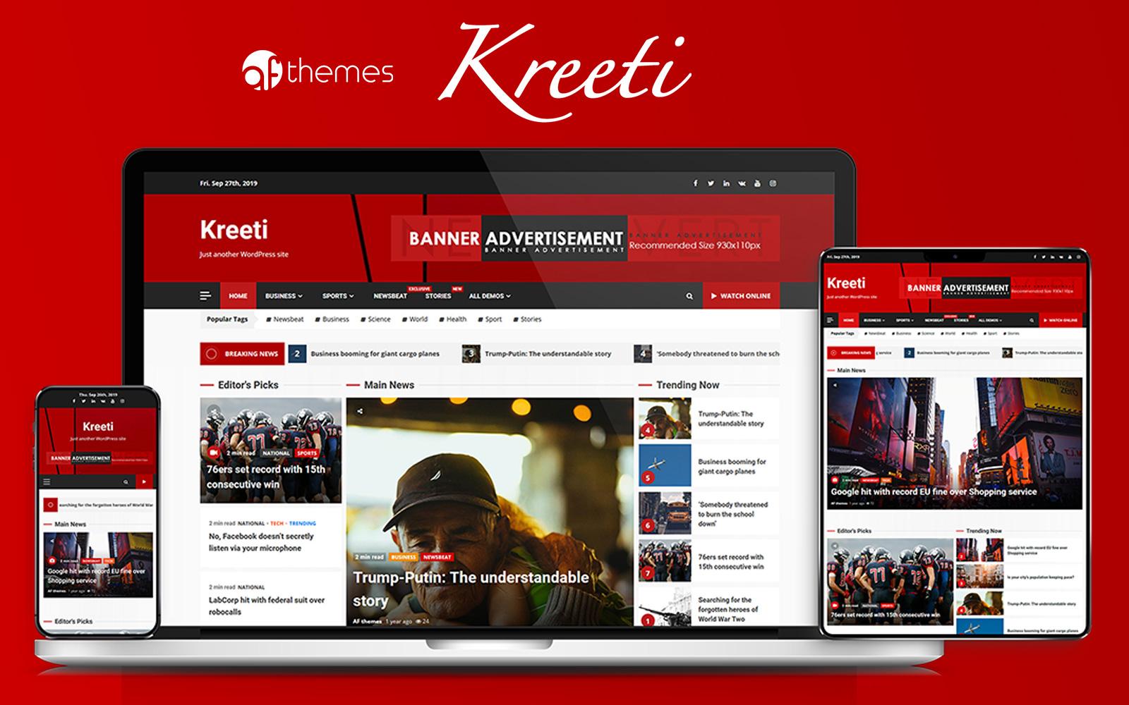 """Tema WordPress Responsive #86910 """"Kreeti - Clean and Elegant Responsive"""""""