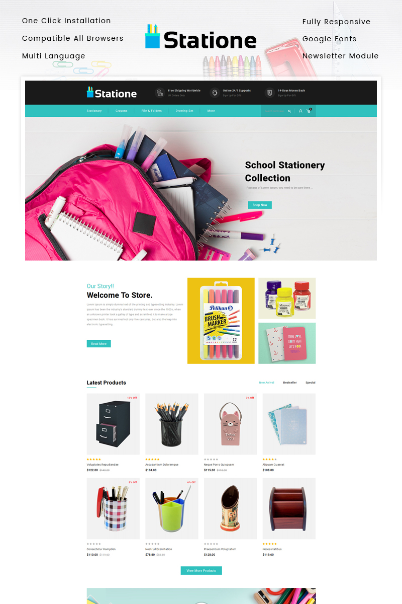 """""""The Stationary Store"""" Responsive OpenCart Template №86972"""