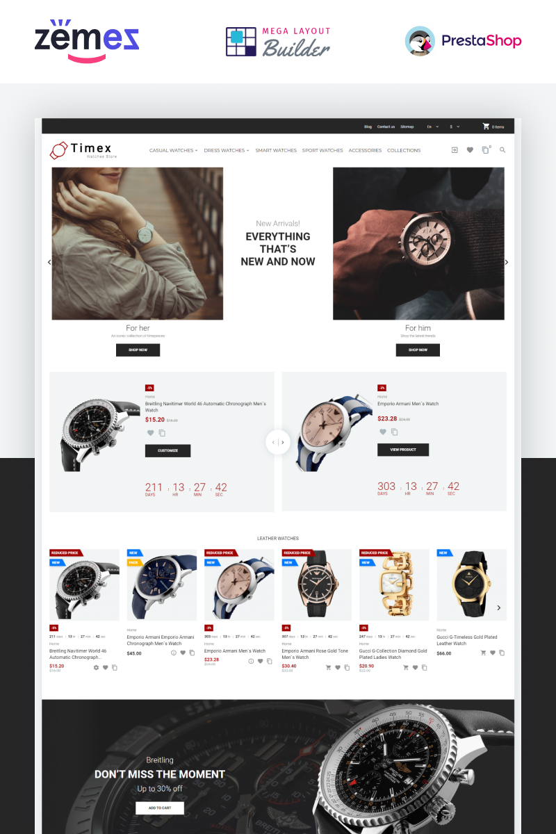 """Timex - Watches Store Template"" - адаптивний PrestaShop шаблон №86919"