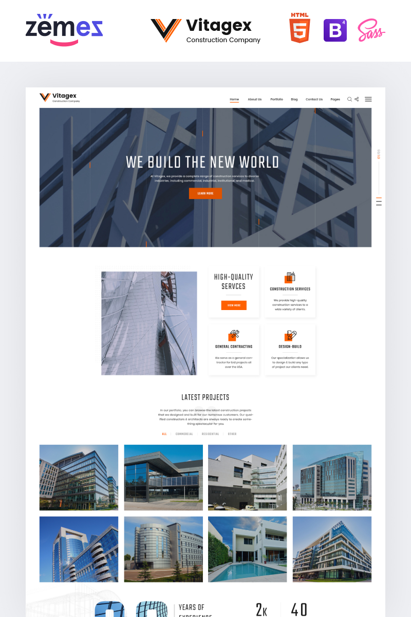 "Website Vorlage namens ""Vitagex - Construction Company Multipage Modern HTML"" #86973"