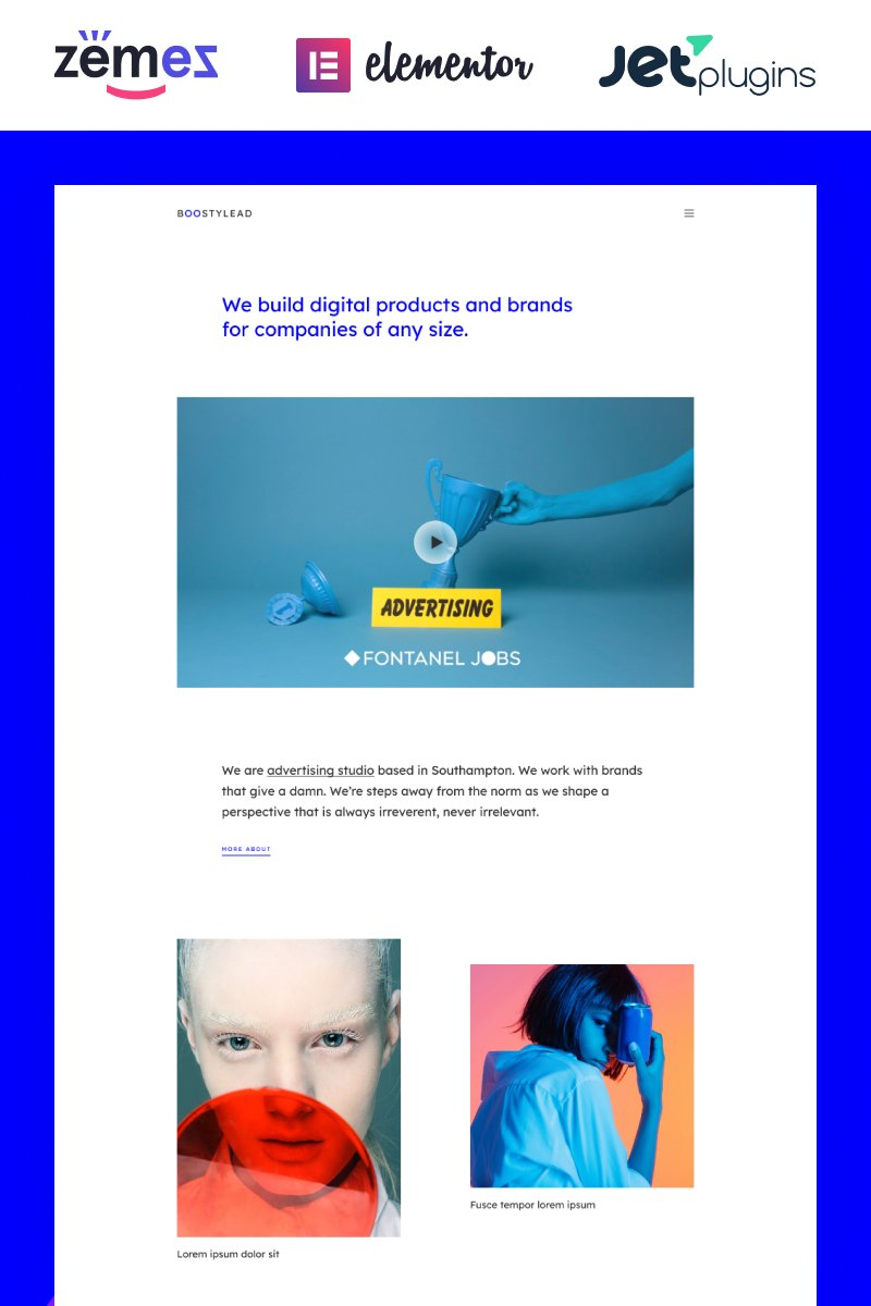 """WordPress Theme namens """"Boostylead - Marketing Agency Website Template with a Neat Design and Elementor"""" #86978"""