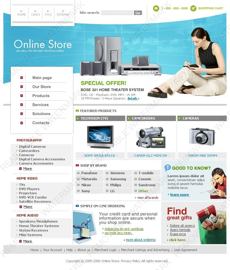 electronics store website template  8761 by wt