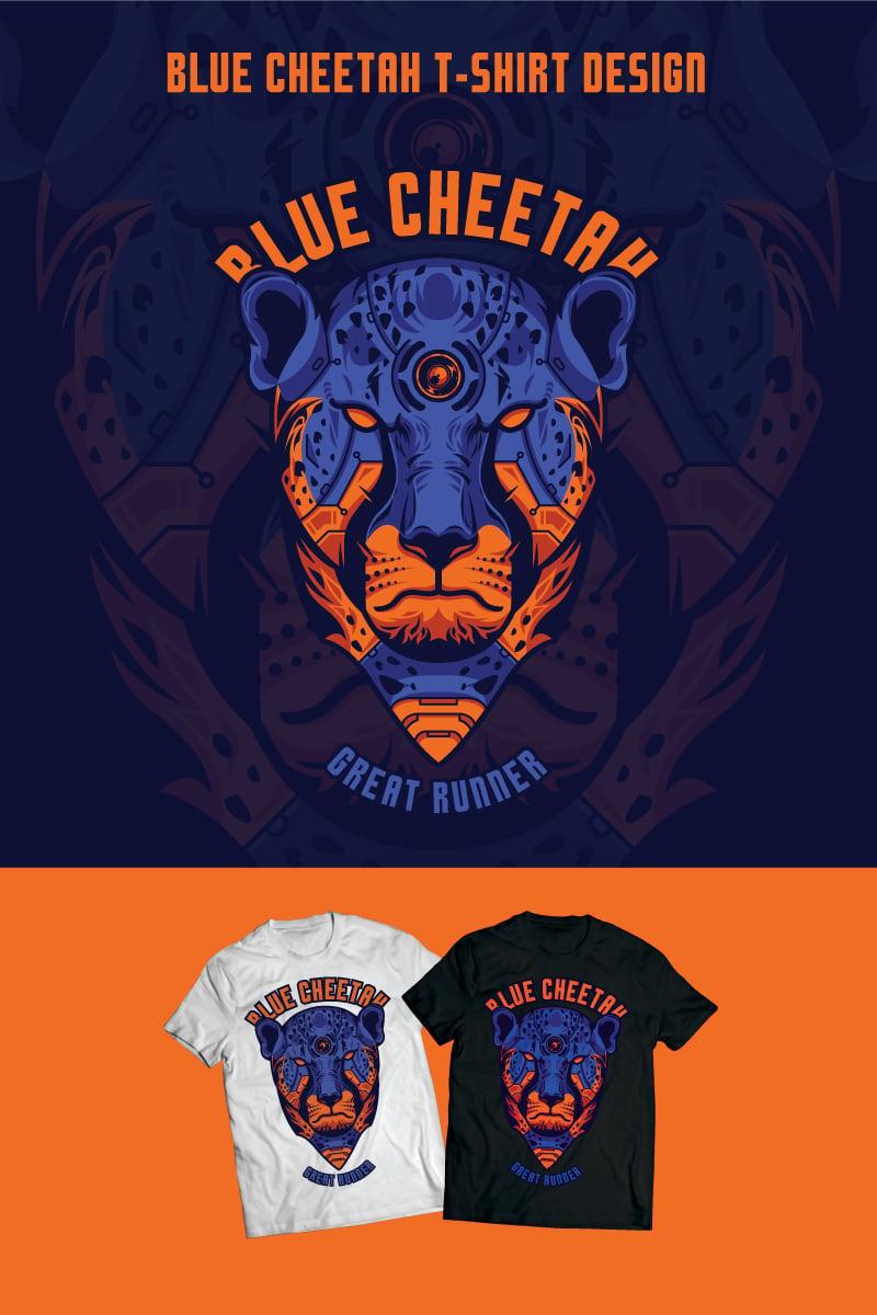 Blue Cheetah Design T-shirt