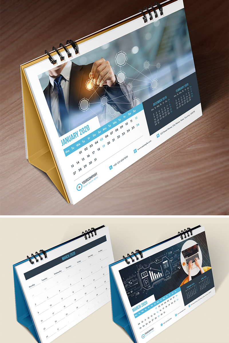 Desk Calendar 2020, Table Calendar, Planner, 26 Pages Corporate Identity Template