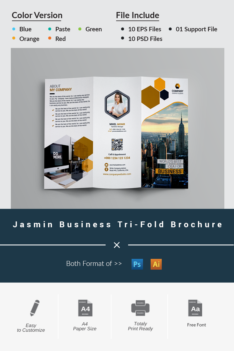 Jasmin Business Tri-Fold Brochure Corporate Identity Template - screenshot